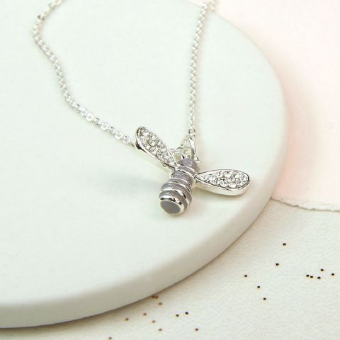 LIGHT GREY ENAMEL BEE NECKLACE